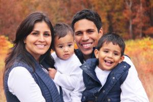 autumn portrait of happy family